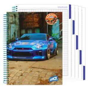CUADERNO C/ESPIRAL QUICK 200H. FLEX. CUADROS GARAGE ART (42)