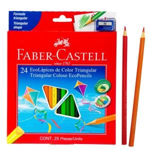 CRAYON DE MADERA FABER CASTELL 120524E 24 COL. LARGO TRIANGULAR (8X6)