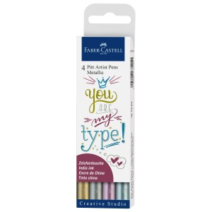 SET PARA LETTERING FABER CASTELL 167304 COL. METALICOS BX4