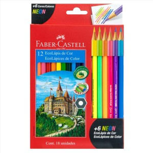 CRAYON DE MADERA FABER CASTELL 120112+6N 12 COL. LARGO HEX. + 6 NEON (72)