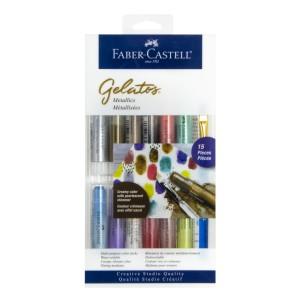 CRAYON GEL FABER CASTELL GELATOS 121814 12 COL.+3 METALICOS