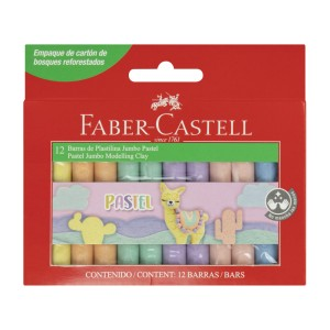 PLASTICINA FABER CASTELL 180 GR. CAJA X 12 BARRAS DE COLORES PASTEL (48)