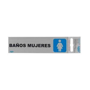 """CALCOMANIA DE ALUMINIO SABLON 6501 16.5X4.5CM. """"BAÑOS MUJERES"""""""