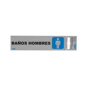 """CALCOMANIA DE ALUMINIO SABLON 6502 16.5X4.5CM. """"BAÑOS HOMBRES"""""""