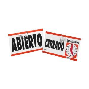 """SEÑALIZACION COLGANTE SABLON 7961 29X15CM. """"ABIERTO-CERRADO"""""""